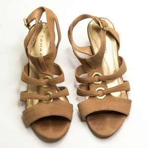 👡 Tahari Strappy Heels Leather Brown Ta-Kay Shoes
